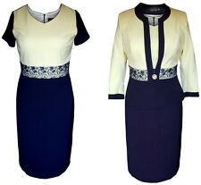 NAVY LEMON MOTHER OF THE BRIDE GROOM 2 PIECE FORMAL OUTFIT JACKET DRESS SIZE 22
