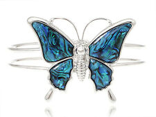 Silver Tone Queen Butterfly Faux Abalone Shell Wing Double B& Bracelet Bangle