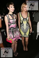 $2490 Herve Leger ANAYA Flare Pink Black White Diamond Stripe Cocktail Dress XS