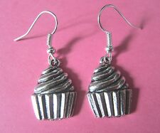 Quirky Cute Vintage Look Silver Plated CupCake Cake Charm Earrings New Kitsch