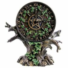 Astrology Tree Of Life Hand Painted Gothic Pagan Resin Desk Clock