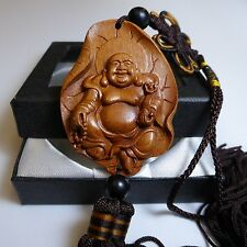 CHINESE LUCKY FENG SHUI LAUGHING PENDANTS ROSEWOOD CARVING