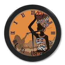 Home Decor Custom New African Woman Quartz Round Wall Clock 9.65 Inches