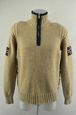 NAPAPIJRI Woolen Cardigan Knit Men`s Jumper Half Polo Zip Neck Pullover Size M
