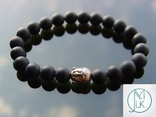 Buddha Black Onyx Matt Natural Gemstone Bracelet 7-8'' Elasticated Healing Stone