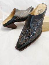 CHARLIE HORSE black leather western cowboy mules clogs boots 7.5B