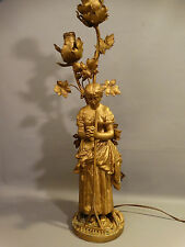 Antique VICTORIAN LADY Harvest Prayer OLD FARM HOUSE Newel Post STATUE LAMP