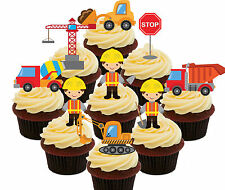 Builders Trucks Diggers, 36 Edible Cup Cake Toppers, Fairy Decorations Kids Boys
