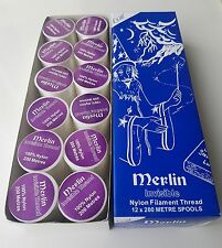 MERLIN INVISIBLE MAGIC CLEAR SEWING THREAD NYLON 200M SPOOL-BOX OF 12 ONLY £9.99
