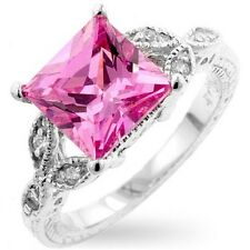 Sterling Silver Deco Cocktail Ring Pink Cubic Zirconia Princess Cut Size 10 USA