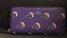 Coach Slim Accordion Wallet NWT F56732 Bramble Rose Print Canvas Purple