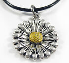 Antique Silver Plated Sunflower Daisy Pendant Black Leather -Ette Necklace