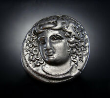 Nymph of Larissa and Wild Horse. Spectacular Ancient Greek coin from THESSALY.
