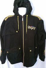Men's Coogi Long Sleeve Hooded Zip Front Jacket Size XXXL 3X Black Gold 90s VTG