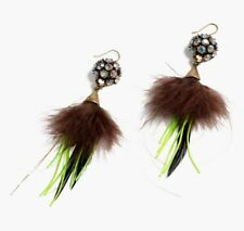 $88 NWT J CREW Feathered Crystal Earrings SOLD OUT Exquisite Groovy Neon +Box