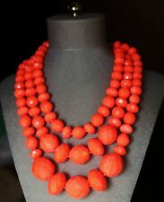 Kate Spade New York GIVE IT A SWIRL faceted bead 3 triple STRAND NECKLACE CORAL
