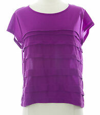 TOPSHOP Women's Purple Solid Detailed Cap Sleeve Top 09I01A US Size 8 NEW