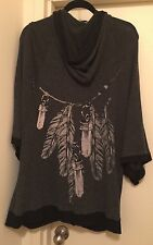 100% Authentic Womens WILDFOX Zip Up Poncho With Hood Size S Retail $225