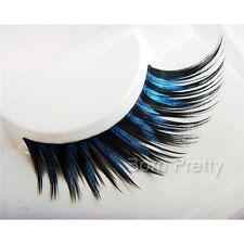 1 Paar falsche künstliche Wimpern Dark Blue Thick False Eyelash For Party #12586