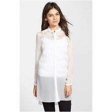 NWT T Tahari Fergie Long Blouse tunic Antique white ivory XS $199