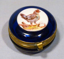Vintage Cobalt Blue Glass Hand Painted Chicken with Nest Egg Pill Trinket Box