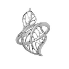 14K WHITE GOLD PAVE DIAMOND LEAF COCKTAIL FASHION WIDE RING