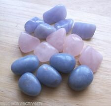 ANGELITE, BLUE LACE & ROSE QUARTZ - 15 STONES 12mm-15mm (5 OF EACH) WITH POUCH