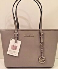 NWT Michael Kors Jet Set Small Travel Tote Saffiano Leather Pearl Gray