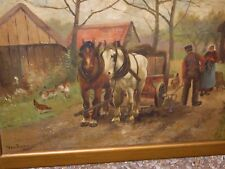 Antique great oil on canvas of farm people horses chicken by Thos Farray 1908