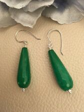 Art Deco Inspired Emerald Green Faceted Jade Sterling Silver Earrings
