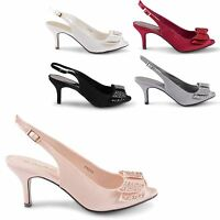 NEW LADIES KITTEN HEEL SATIN BRIDAL WEDDING BOW DIAMANTE SANDALS SIZES UK 3-8