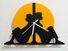 Do you want to build a snowman!? - Black & Yellow Silhouette - Wall Clock