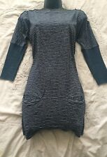 TOAST Lovely French Navy Cotton and Linen Five Stripe Tunic Dress Size 8 UK