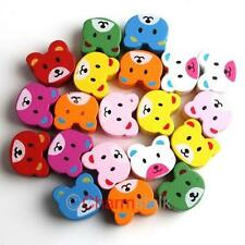 50 Neu Bär Form MIX Farbe Holz Charms Spacer Beads Perlen 17x15mm 110845