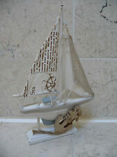 Seaside Nautical Shabby Chic Wooden Sailing Boat Bathroom Ornament Rustic NEW