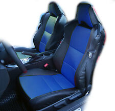 SUBARU BRZ 2013-2014 BLACK/BLUE IGGEE S.LEATHER CUSTOM FIT FRONT SEAT COVER