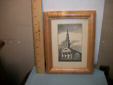 wood block print of church town hall framed unsigned