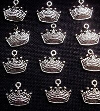 8 Royal Crown Charms Flat Silver Tone Metal 18mm x 15mm