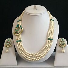 TURQUOISE GOLD INDIAN VINTAGE MUGHAL COSTUME JEWELRY NECKLACE EARRINGS PEARL SET