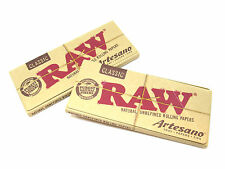 RAW Classic King Size Slim Artesano Rolling Papers- 2 Packs- 32 leaves tips tray