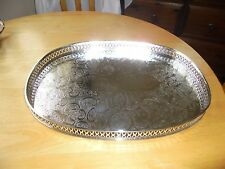 Lovely Silver Plated Oval Gallery Tray
