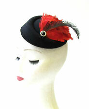 Red Black Feather Pillbox Hat Fascinator Hair Races Vintage Headpiece Clip 1439
