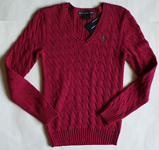 NWT Womens Ralph Lauren Polo Pony Logo V-Neck Cable Knit Sweater Red Blue Ivory+