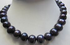 """HOT HUGE 18"""" 10-11MM TAHITIAN BLACK PEARL NECKLACE 14K GOLD CLASP  AYP"""