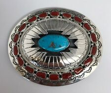 Native American Sterling Silver Handmade Coral Turquoise   Belt Buckle