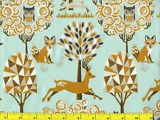 Deer Fox Owls Rabbits w/ Trees on Light Green Quilting Fabric by Yard  #679