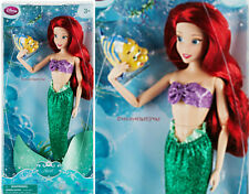 "PRINCESS ARIEL AND FLOUNDER ~DISNEY STORE 12"" CLASSIC DOLL~ THE LITTLE MERMAID"