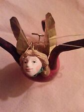 Fairy angel wood hand made Christmas holiday ornament very old vintage