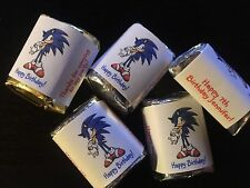 60 Personalized sonic hedgehog Birthday Candy Wrappers Nugget favors stickers