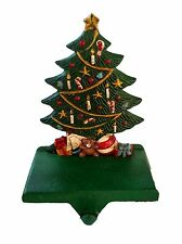 Decorated Christmas tree presents painted cast iron fireplace stocking holder